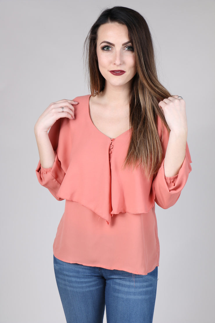 Coral Deep V Ruffle Top