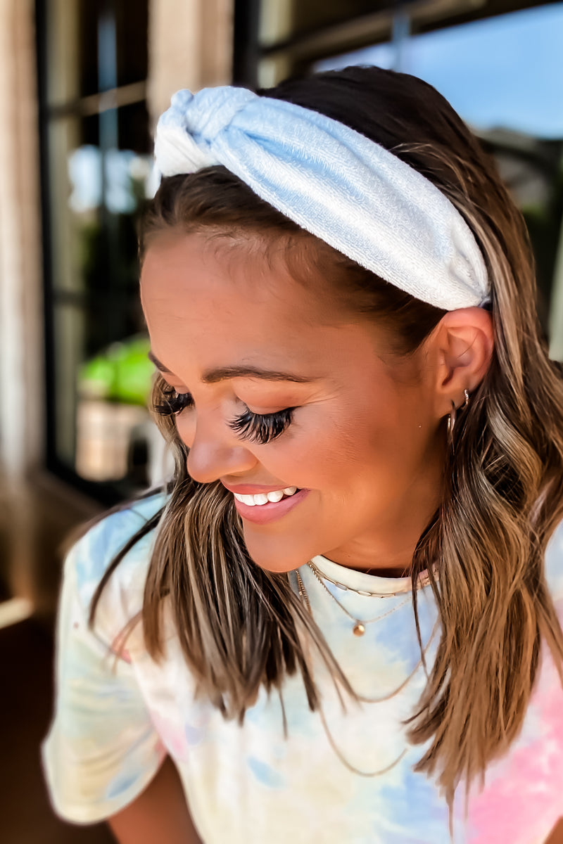 Evie Powder Blue Terry Cloth Headbands