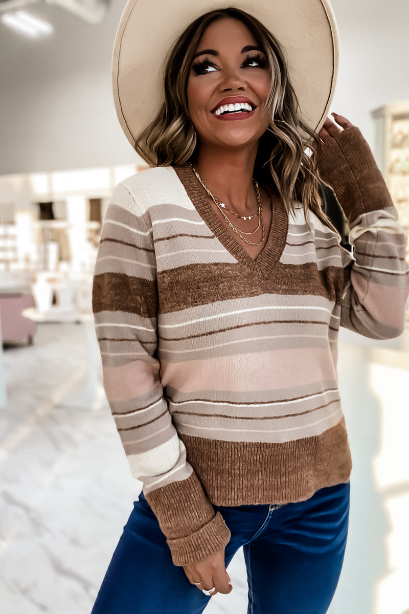 Take A Look Brown & Pink Stripe V-Neck Sweater
