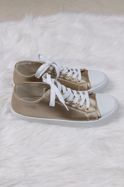 Narnia Gold Pleather Sneakers