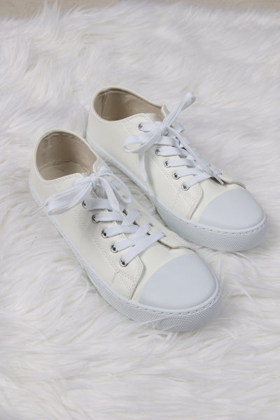 Narnia White Pleather Sneakers