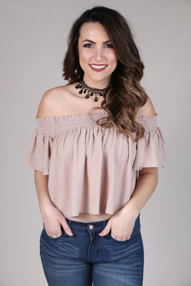 Rose Smocked Off The Shoulder Top