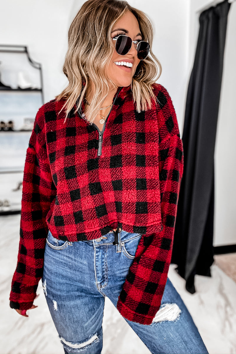 Explore The Outdoors Buffalo Plaid Red/Black Crop Jacket
