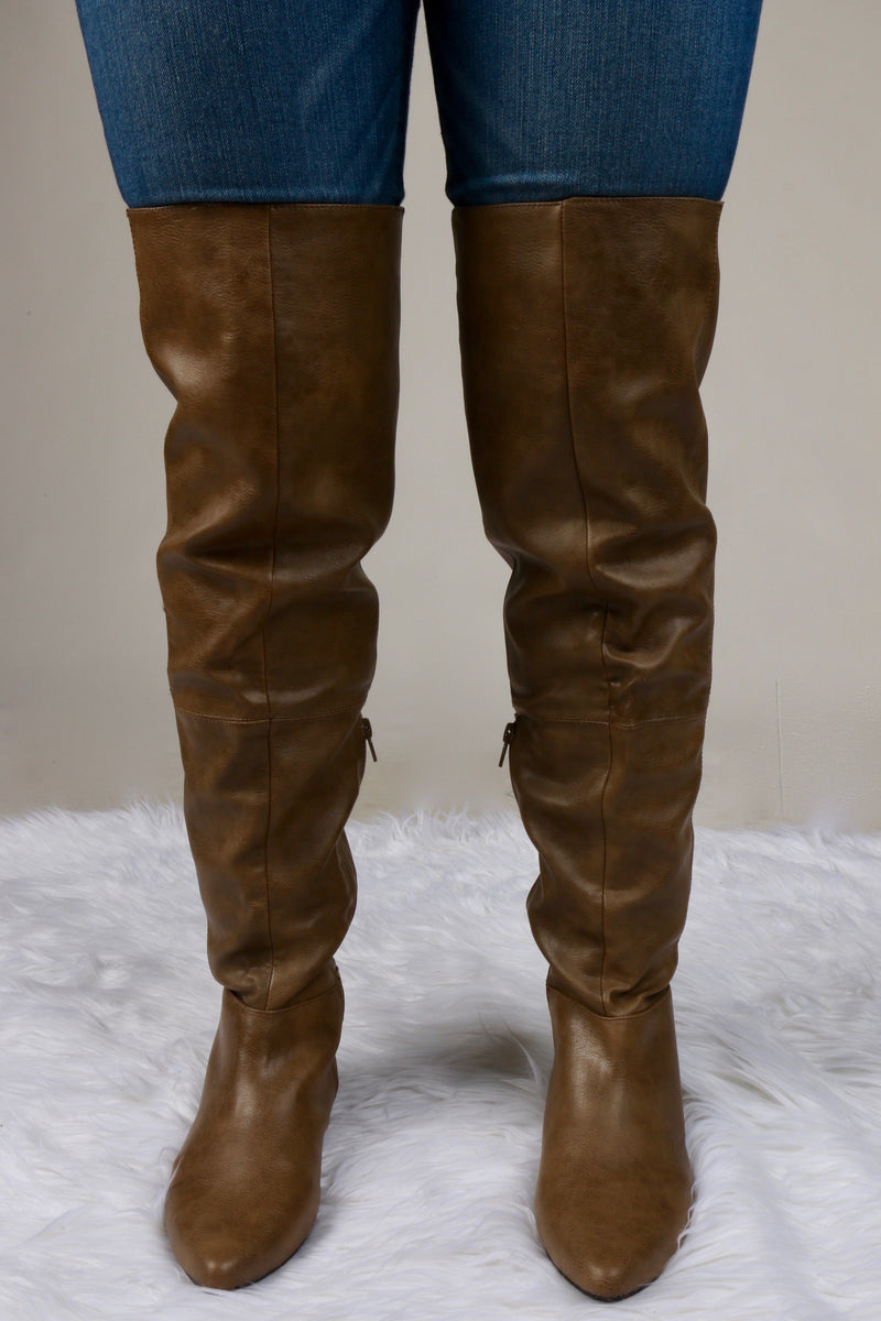 Taupe Over The Knee Pointed Toe Boot