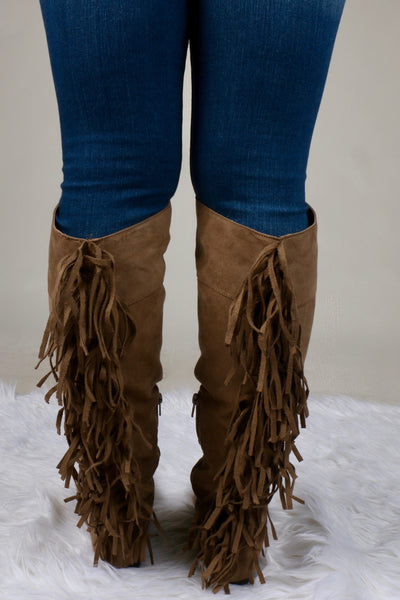 Neo Tall Taupe Suede Fringe Boot