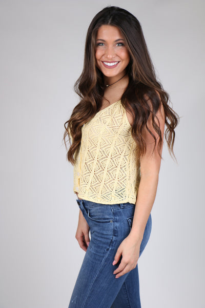 Yellow Crochet Button Down Crop Top