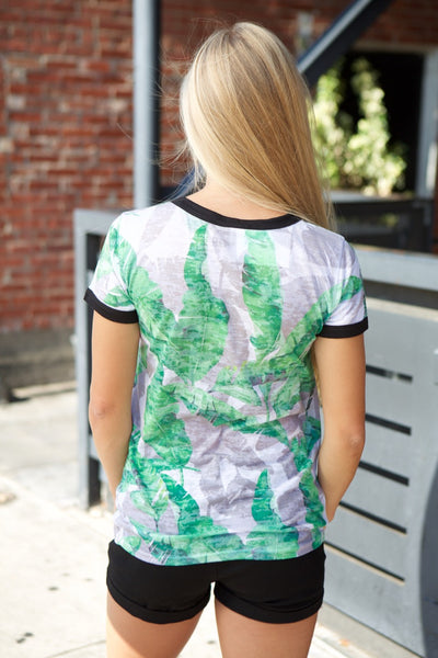Off White Short Sleeve Green Leaf Print Top