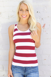 See You Around White & Burgundy Stripe Tank Top