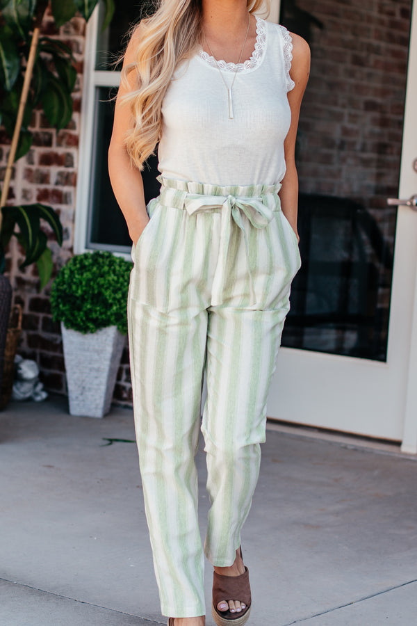 No Need To Think Lime Striped Linen Pants