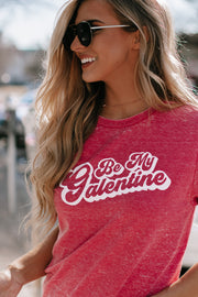 Be My Galentine Red Acid Wash Short Sleeve Shirt