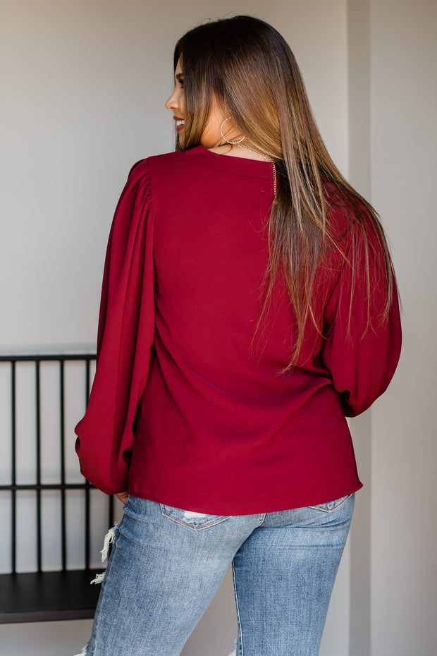 Live Fully Burgundy Long Sleeve Top
