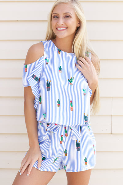 Day Off Blue Striped Cactus Cold Shoulder Top