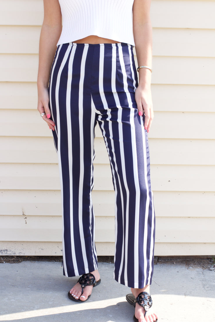 There For Me Navy & White Striped Pants