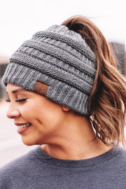 C.C. Grey Beanie Pony Tail / Messy Bun