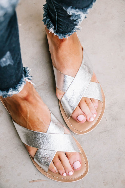 Matisse Pebble Silver Criss Cross Sandals