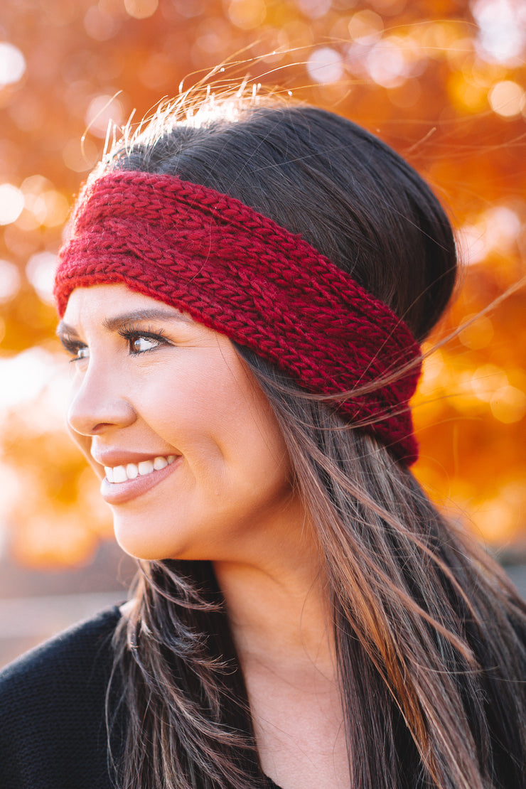Cozy Red Cable Knit Headband