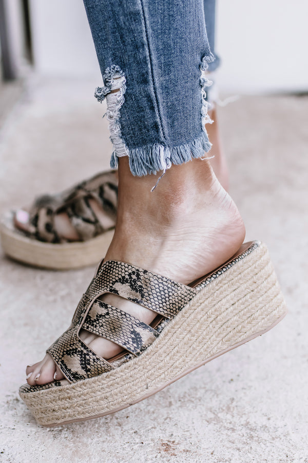 Honesty Natural Python Platform Sandal