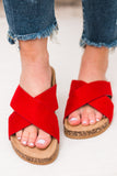 Gibson Red Crisscross Suede Sandals