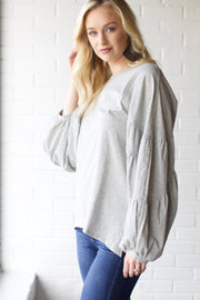 Totally Heather Grey Puff Sleeve Top