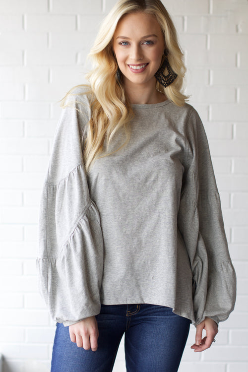 Totally Captivating Heather Grey Puff Sleeve Top