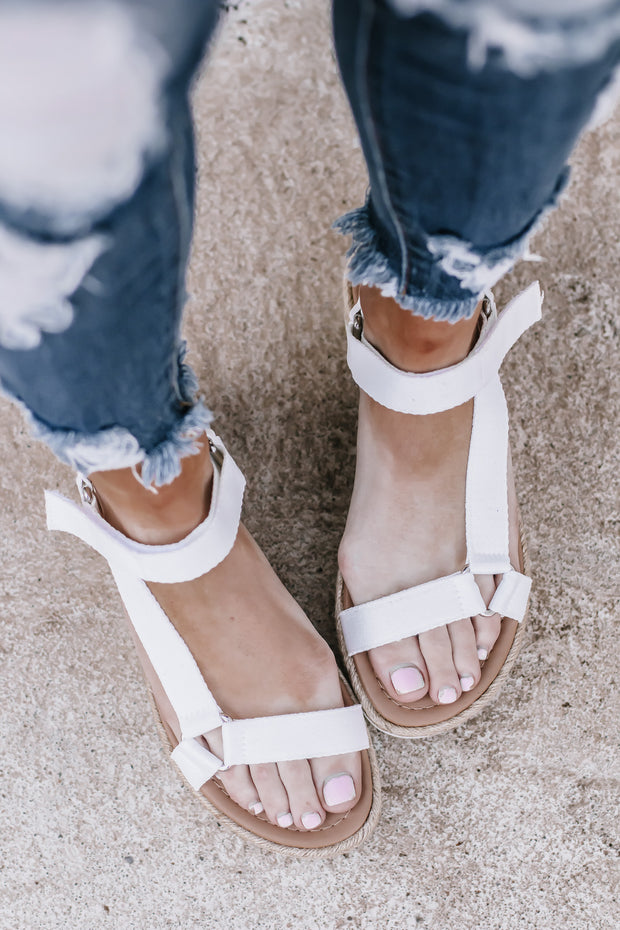 Destiny White Platform Sandals