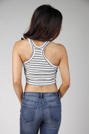 White & Black Stripe Crop Top