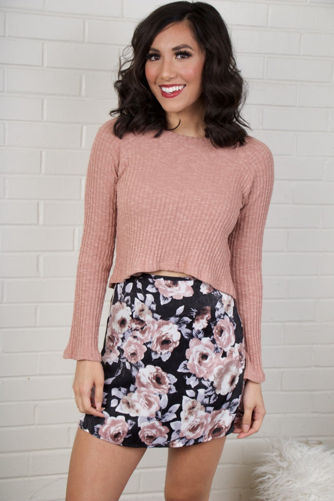 What's Bloomin' Black Floral Mini Skirt