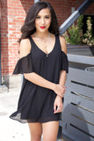 Show Me Your Mumu Birdie Ruffle Dress Black Chiffon