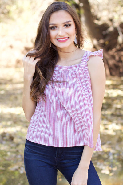 Going Places Rose Striped Sleeveless Top