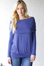 Just Checking Slate Blue Off Shoulder Top