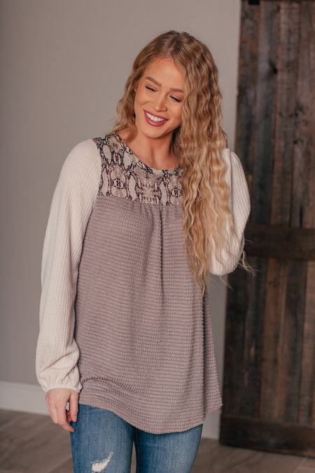 Just Dance Grey Waffle Knit Top