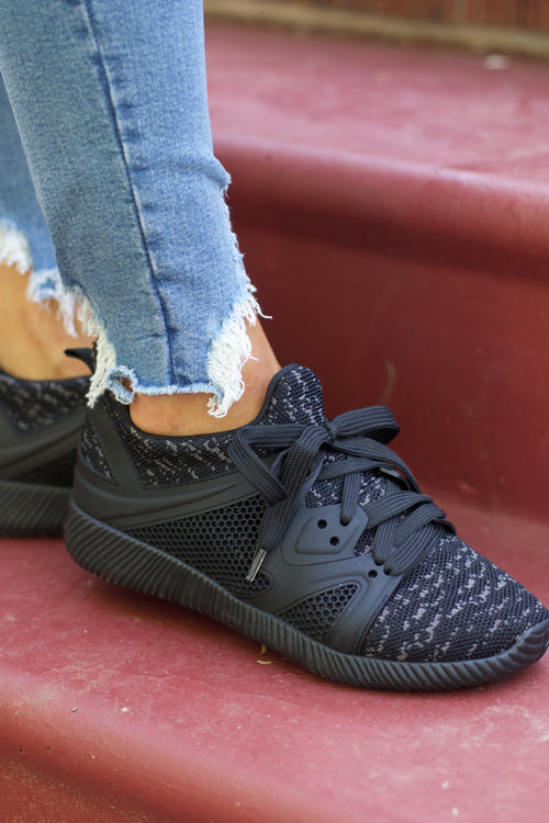 Nacara Black Fly Knit Sneakers