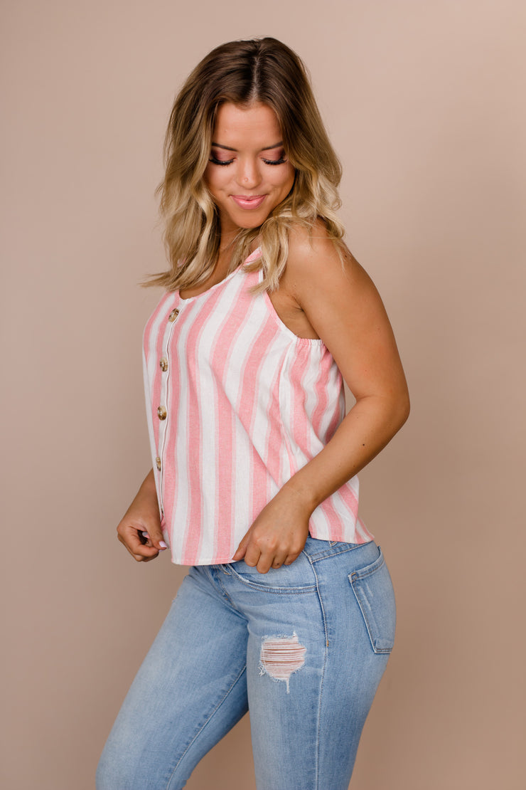 Stuck On Island Time Rose Striped Top