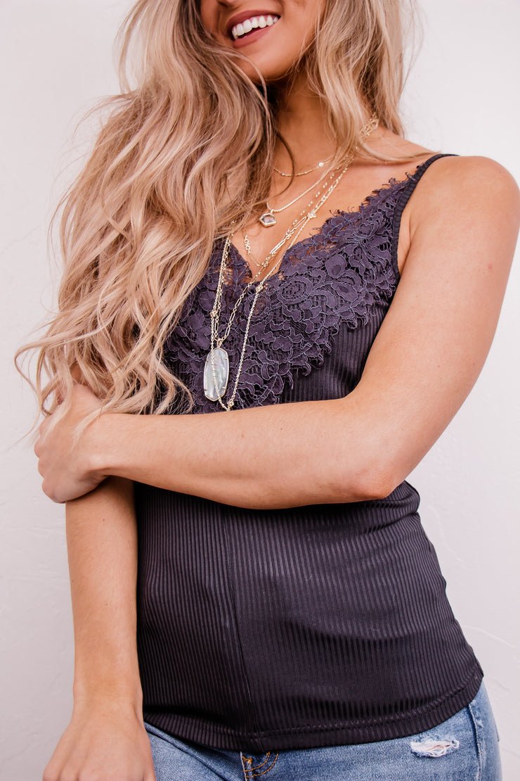 Out With It Charcoal Laced Front Rib Cami Knit Top