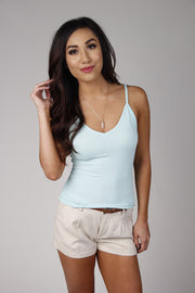 Mint Spaghetti Strap V-Neck Crop Top