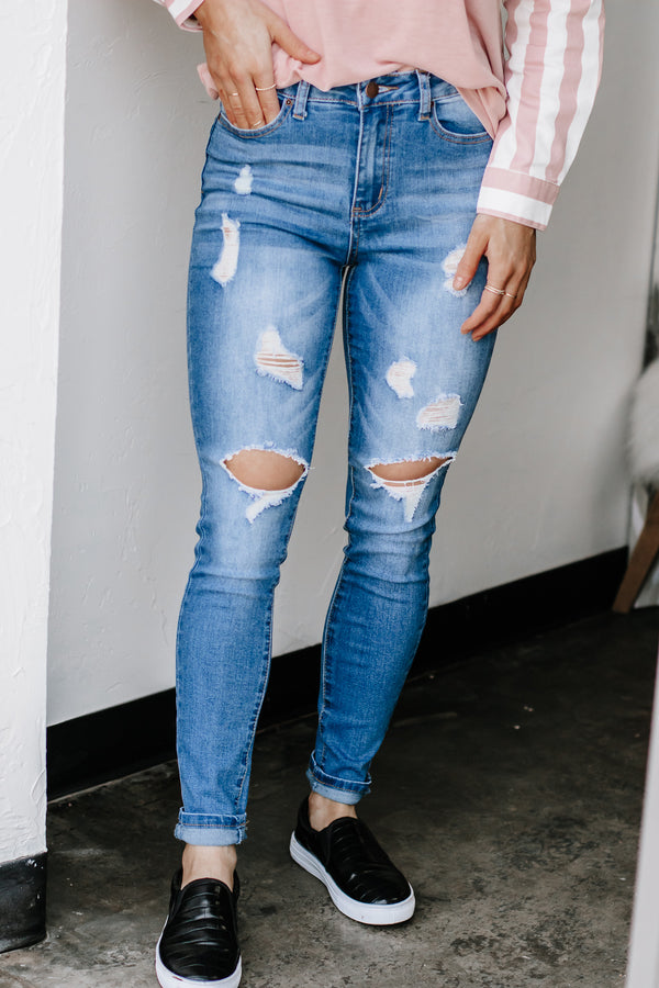 In No Time High Rise Medium Wash Denim Jeans