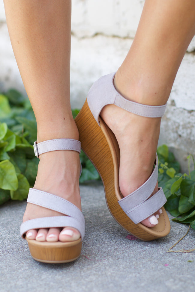 Cake Light Grey Strappy Wedge Sandal