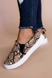 Reba Tan & Brown Snake Step In Sneaker