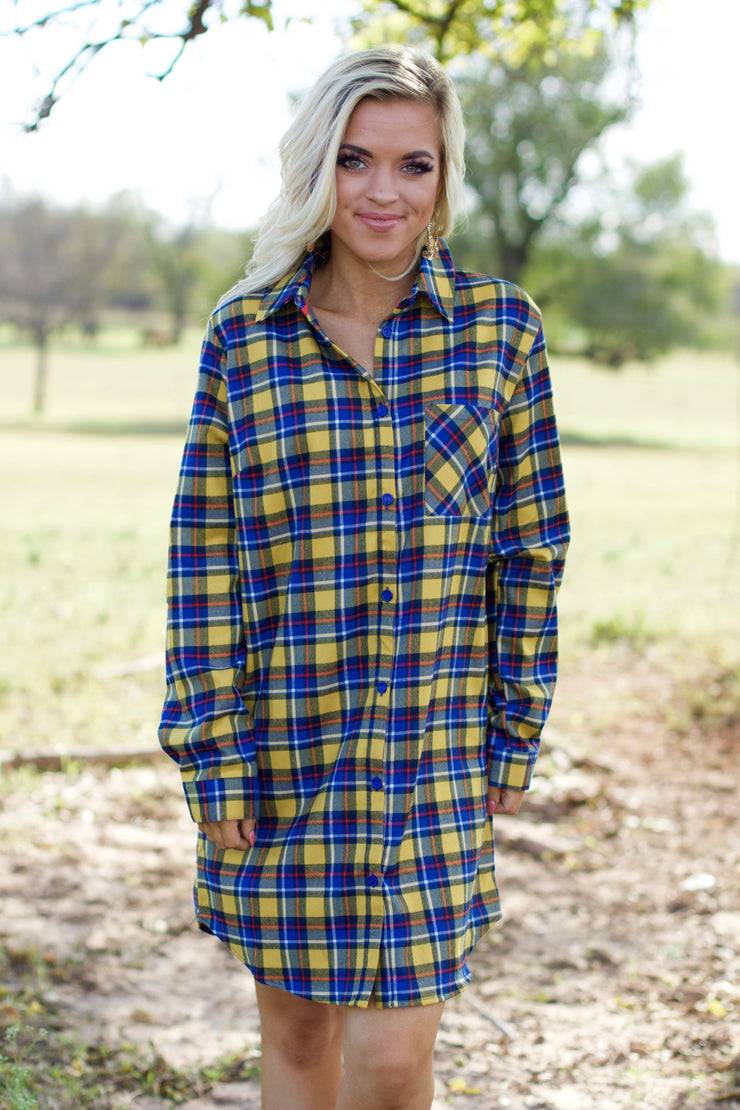 Getting Closer Mustard Plaid Dress