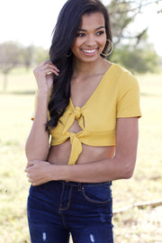Knot For Now Mustard Crop Tie Top