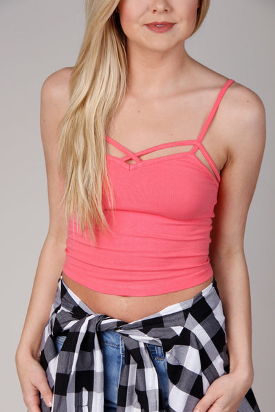 Pink Spaghetti Strap Crop Top With Cutout Detail