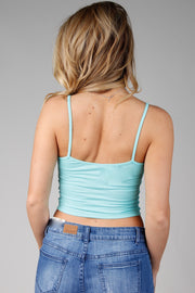 Mint Spaghetti Strap Crop Top With Cutout Detail