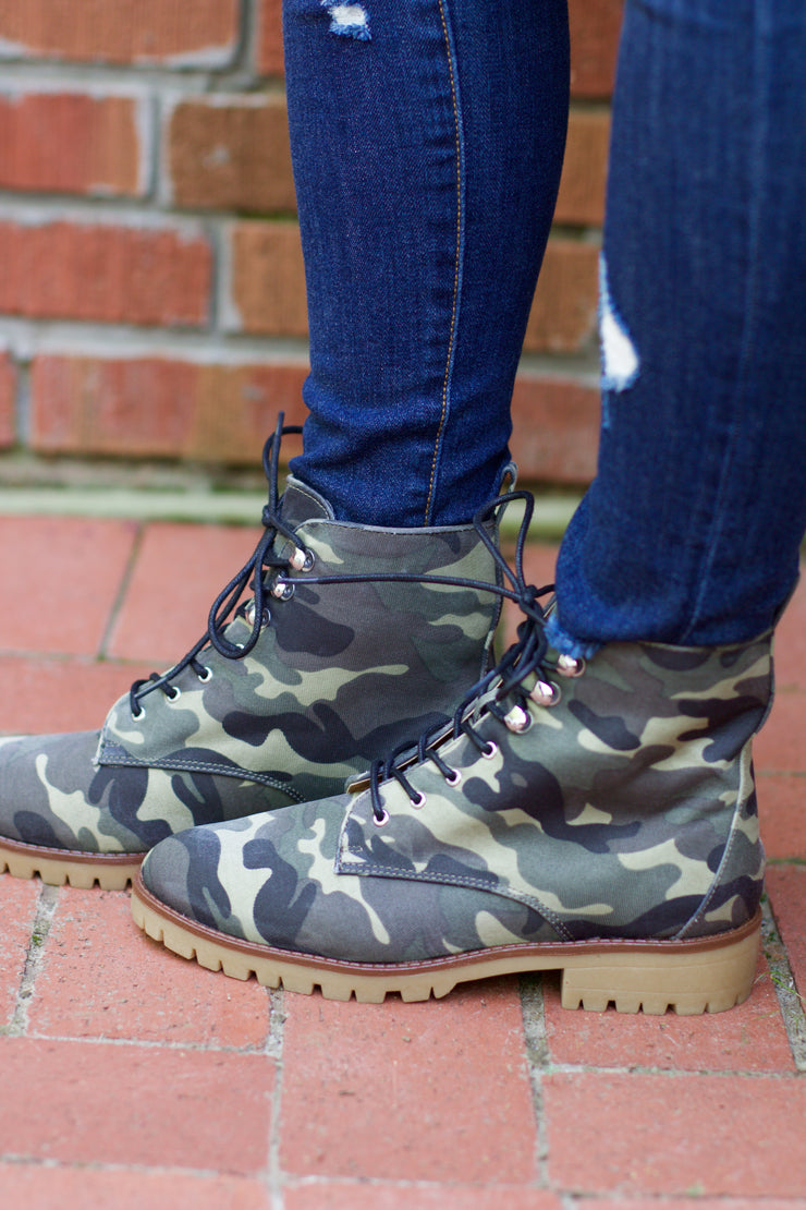 Severe Khaki Camouflage Lace Up Bootie