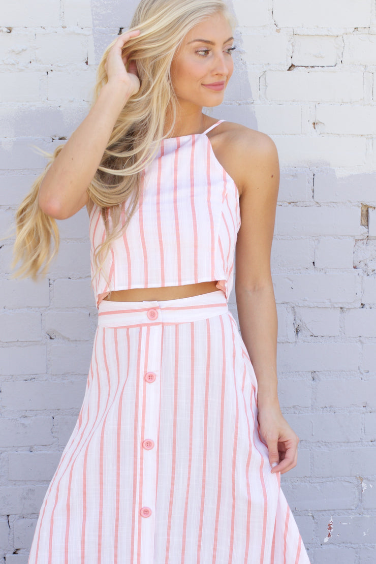 Cancun Calling Coral Striped Crop Top