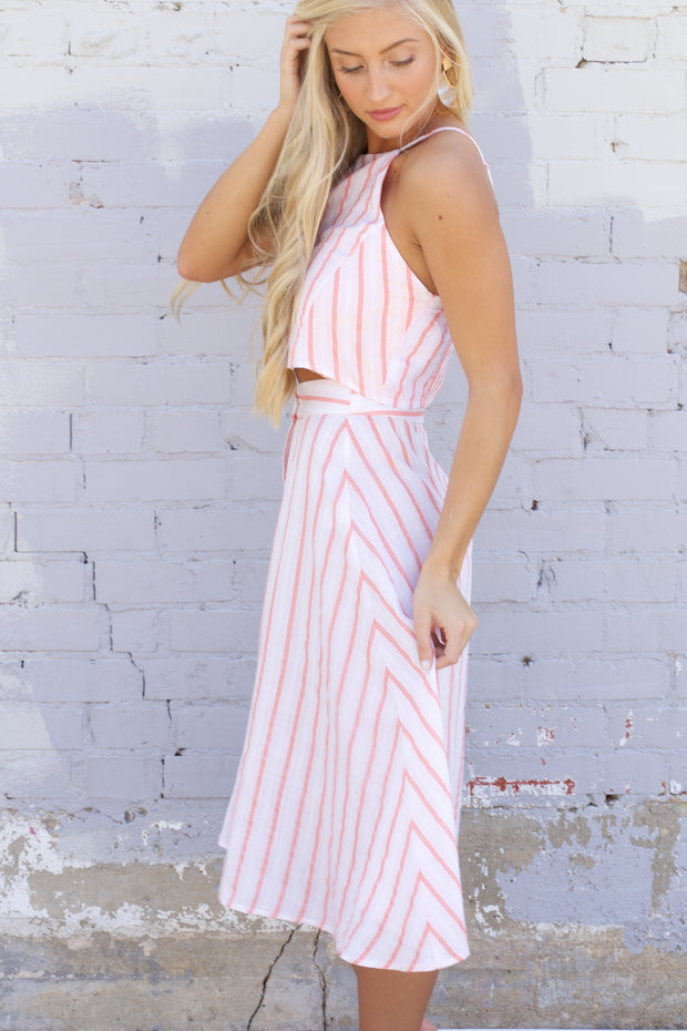 Cancun Calling Coral Striped Button Up Midi Skirt