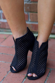 Chester Black Suede Cut Out Bootie