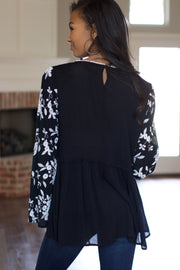 Make Them Wait Black Embroidered Top