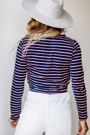 The Perfect Navy Striped Crop Top