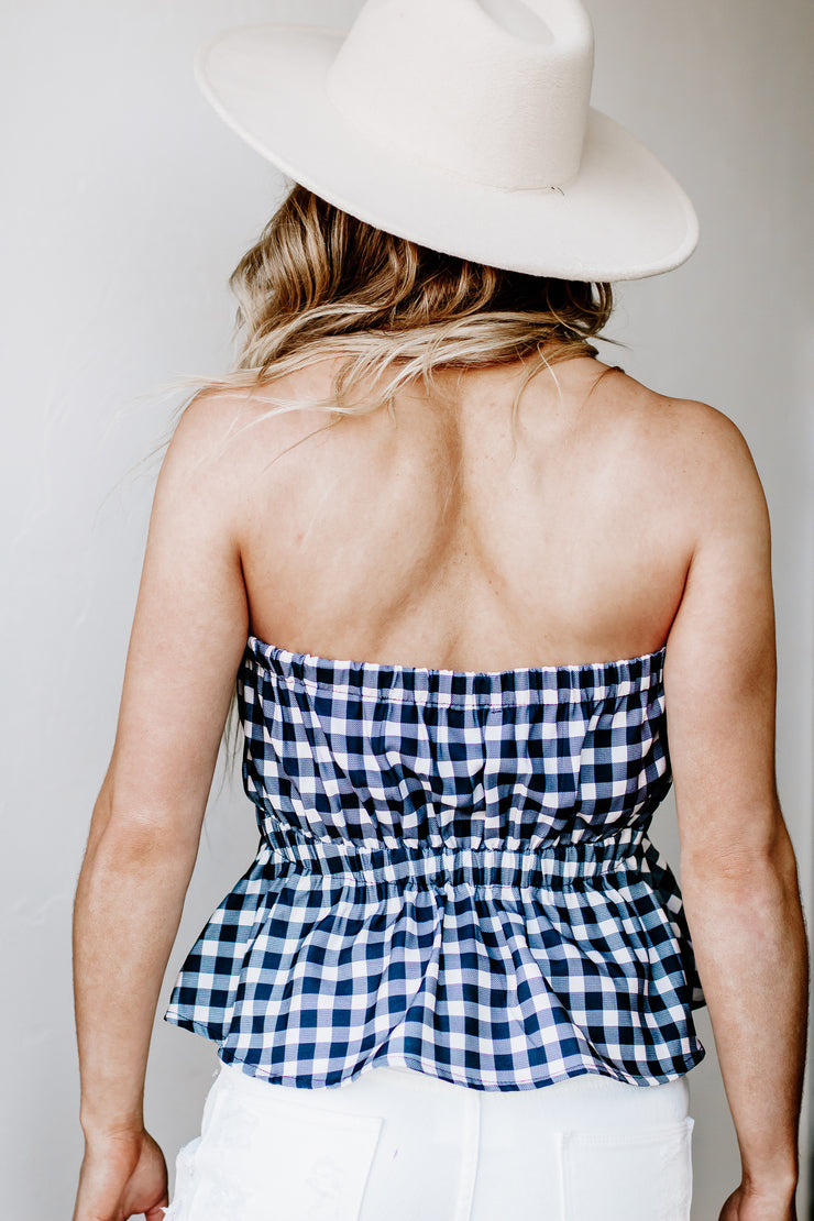Checking Out Gingham Zip Up Crop Top