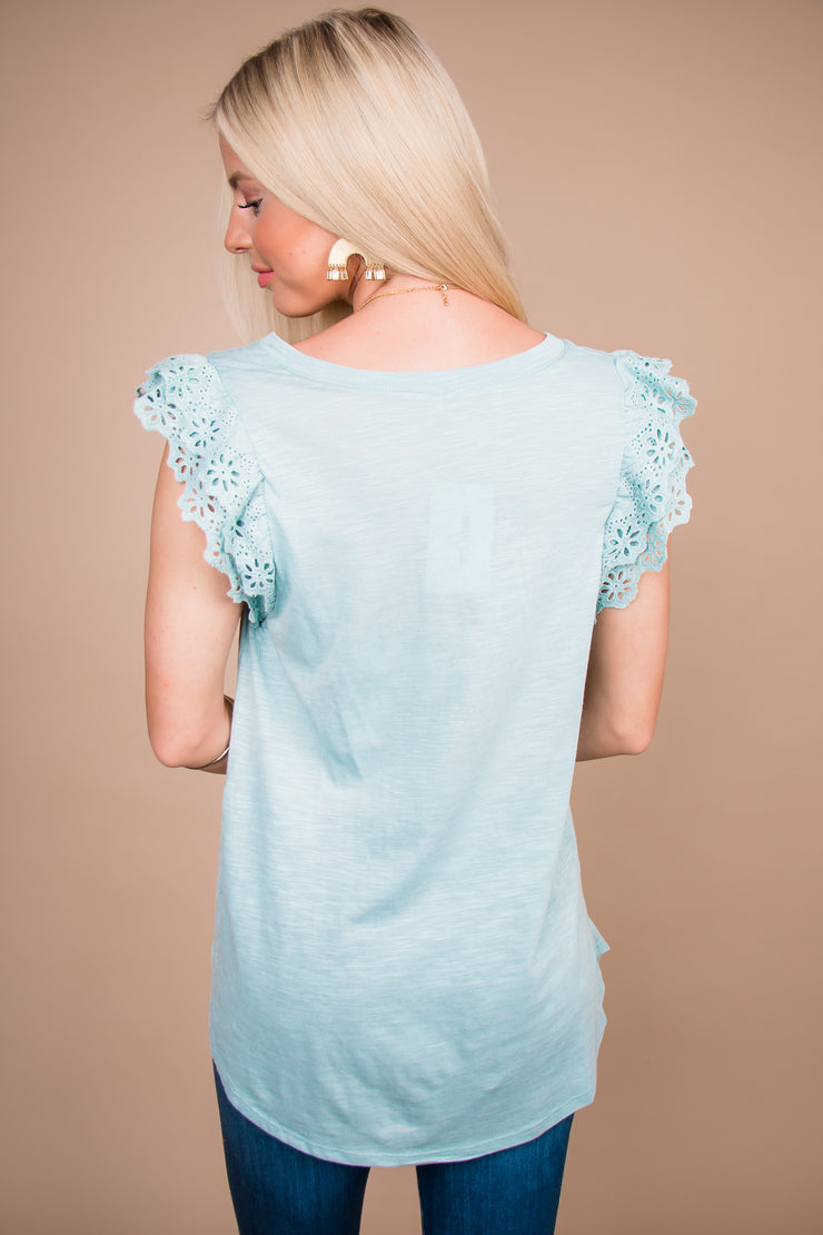 In The Know Sage Lace Ruffled Top